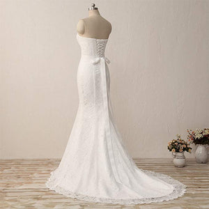 White Sweetheart Sleeveless Mermaid Wedding Dresses Lace Bridal Gown