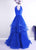 Royal Blue V Neck Sleeveless Prom Dresses Tiered Tulle Evening Dresses