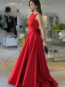 Red Sleeveless V Back A Line Prom Dresses Long Satin Evening Dresses