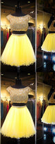 Yellow Two Piece Cap Sleeve Homecoming Dresses Beaded Cocktail Dresses
