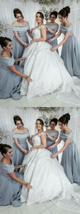 Simple Grey A Line Off Shoulder Sleeveless Long Satin Bridesmaid Dresses