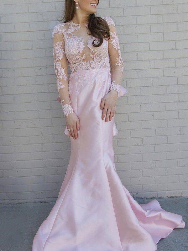 4667e07a827b Pink Long Sleeve Open Back Mermaid Prom Dresses Lace Evening Dresses ...