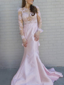 Pink Long Sleeve Open Back Mermaid Prom Dresses Lace Evening Dresses