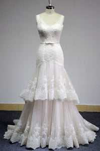 Mermaid V Neck Sleeveless Wedding Dresses Lace Appliques Bridal Gown