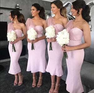 Pink One Shoulder Mermaid Bridesmaid Dress Sweetheart Tulle Prom Dress