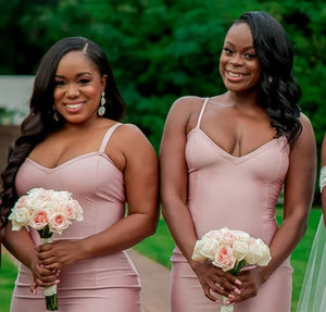 Sexy Dusty Pink Mermaid V-neck Sleeveless Floor-Length Bridesmaid Dress