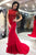 Red High Neck Sleeveless Mermaid Prom Dresses Beading Evening Dresses