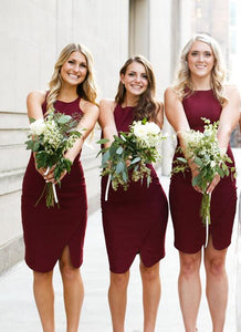 Fashion Maroon Scoop Neck Slim-line Satin Prom Dress Short Bridesmaid Dresses - EVERISA