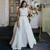 White Two piece Sleeveless Wedding Dresses Front Split Bridal Dress