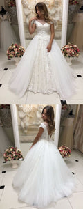 Scoop Neck Cap Sleeve A Line Wedding Dresses Lace Appliques Bridal Gown