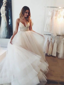 Spaghetti Strap V Neck Backless Wedding Dresses Beaded Bridal Gown
