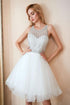 White Round Neck Sleeveless A Line Tulle Homecoming Dresses With Beading
