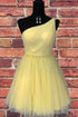 Sparkly Yellow One Shoulder Sleeveless Homecoming Dresses With Beaded