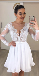 V Neck Long Sleeve Lace A Line Chiffon Wedding Dresses With Detachable Skirt