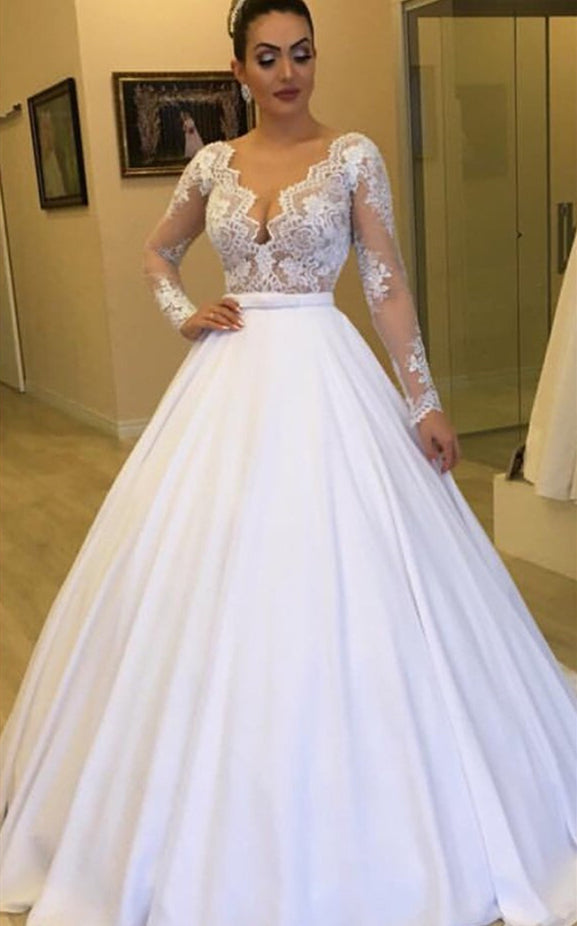 505b85d5e2be V Neck Long Sleeve Lace A Line Chiffon Wedding Dresses With Detachable Skirt