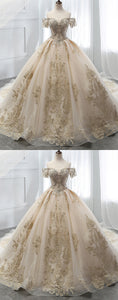 Champagne Off Shoulder Short Sleeve Wedding Dresses Lace Bridal Gown