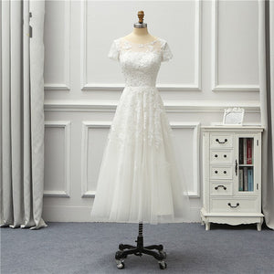 Cheap Scoop Neck Short Sleeve Wedding Dresses Lace Appliques Bridal Gown