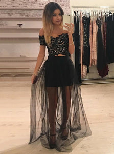 Black Two Piece Off Shoulder A Line Tulle Prom Dresses With Lace