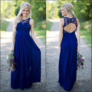 New Blue Sleeveless Open Back Chiffon Prom Dress Long Bridesmaid Dresses - EVERISA