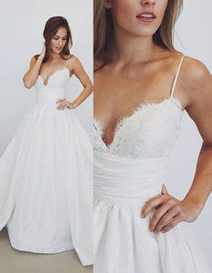 Cheap Spaghetti Straps Sleeveless A Line Wedding Dresses With Lace