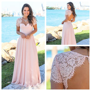 Elegant Blush Pink Sweetheart Open Back Chiffon Prom Dresses Long Bridesmaid Dress - EVERISA