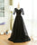 Black V Neck Short Sleeve Lace Prom Dresses Long Evening Dresses