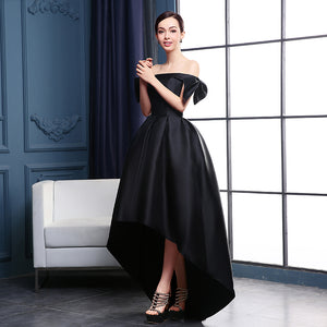 Simple Black Off Shoulder High Low Prom Dress Satin Evening Dress