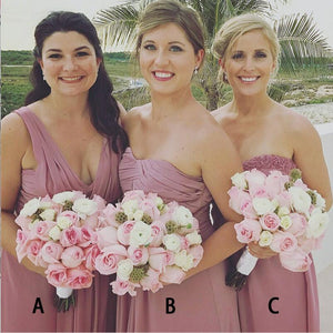 Different Style Dusty Pink Sleeveless Backless Chiffon Bridesmaid Dress Cheap Prom Dress - EVERISA