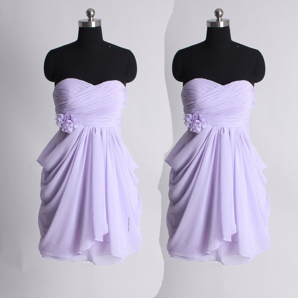4c23a24e29a Simple Light Purple Sweetheart Sleeveless Chiffon Bridesmaid Dress Prom  Dress With Pleats Ruching - EVERISA