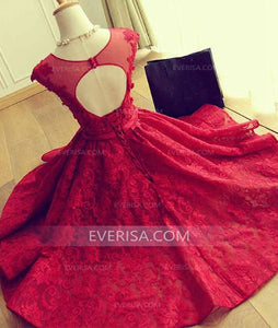 Elegant Red Scoop Neck Open Back Lace Prom Dress Affordable Cocktail Dress - EVERISA