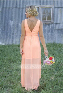 High Quality Tiffany Blue Coral High Low Backless Chiffon Bridesmaid Dress Long Prom Dress - EVERISA
