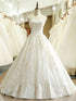 Cheap White Strapless A Line Lace Wedding Dresses Beaded Bridal Dresses