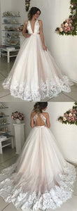 Deep V Neck Sleeveless Backless Wedding Dresses Lace Appliques Bridal Gown