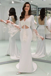 Sexy V Neck Bell Sleeve Open Back Wedding Dresses Mermaid Bridal Dresses