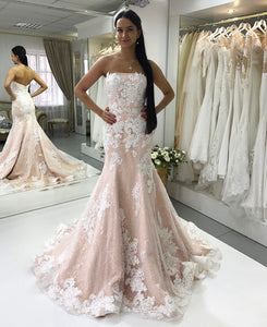 Pink Strapless Lace Appliques Wedding Dresses Mermaid Bridal Dresses