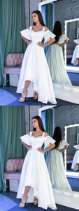 Elegant White Short Sleeve High Low Prom Dresses A Line Evening Dresses