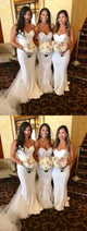 White Spaghetti Straps Sweetheart Sleeveless Long Bridesmaid Dresses