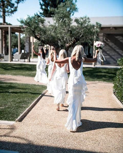 White Sleeveless Backless Long Mermaid Bridesmaid Dresses With Ruffles