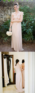 One Shoulder Sleeveless Backless A Line Chiffon Long Bridesmaid Dresses