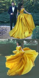 Elegant Yellow Off Shoulder Sleeveless A Line Long Prom Dresses With Beaded