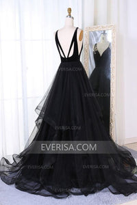 Black V Neck Sleeveless Backless Tulle Evening Dresses A Line Prom Dresses - EVERISA