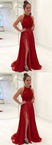 Red Sleeveless A Line Side Slit Prom Dresses Lace Appliques Evening Dresses