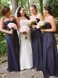 Navy Blue Sweetheart Sleeveless Ruched Chiffon Long Bridesmaid Dresses