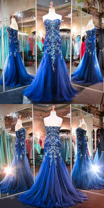 Royal Blue Sweetheart Mermaid Prom Dresses Beaded Evening Dresses
