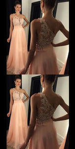 Pink One Shoulder Sleeveless Lace Prom Dresses Chiffon Evening Dresses