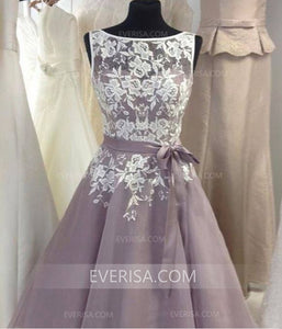 Elegant Lilac Scoop Neck A-Line Short Tulle Prom Dresses Evening Dresses