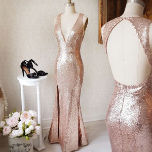 Rose Gold Deep V Neck Open Back Side Slit Mermaid Sequin Prom Dresses