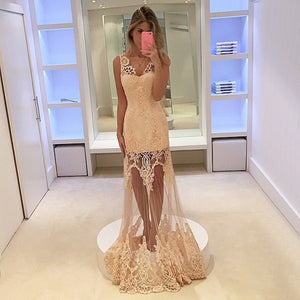 Champagne Deep V Neck Sleeveless Lace Appliques Long Prom Dresses