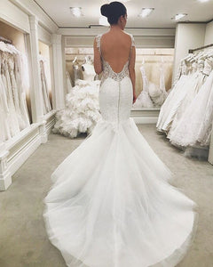 Sexy Sleeveless Backless Mermaid Wedding Dresses With Lace Appliques