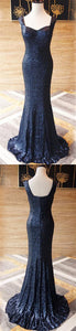 Navy Blue Straps Sleeveless Sequin Prom Dresses Mermaid Evening Dresses